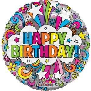 Globo Mylar Happy Birthday Stars