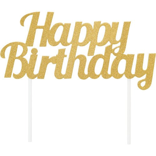 Cake Topper Happy Birthday Dorado