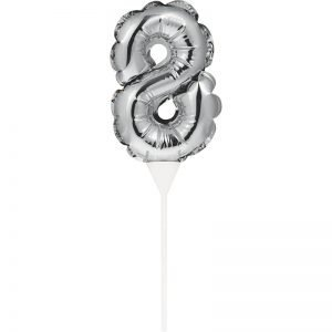 Cake Topper 8 Plateado (Inflable)