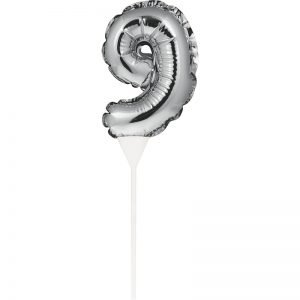 Cake Topper 9 Plateado (Inflable)