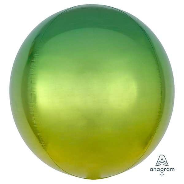 Globo Mylar Ombre Orbz Verde/Amarillo