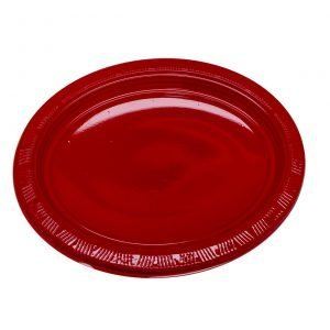 Plato Plástico Ovalado Rojo