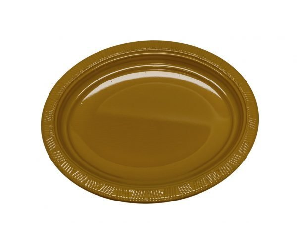 Plato Plástico Ovalado Dorado