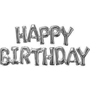 Globo Mylar Happy Birthday Silver