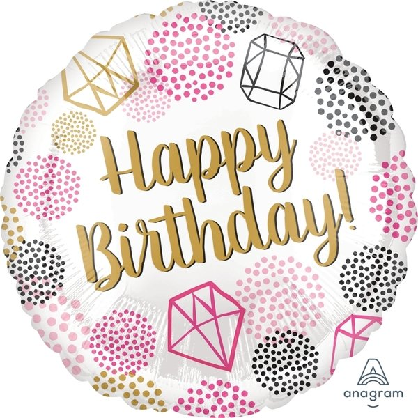 Globo Mylar Happy Birthday Diamante