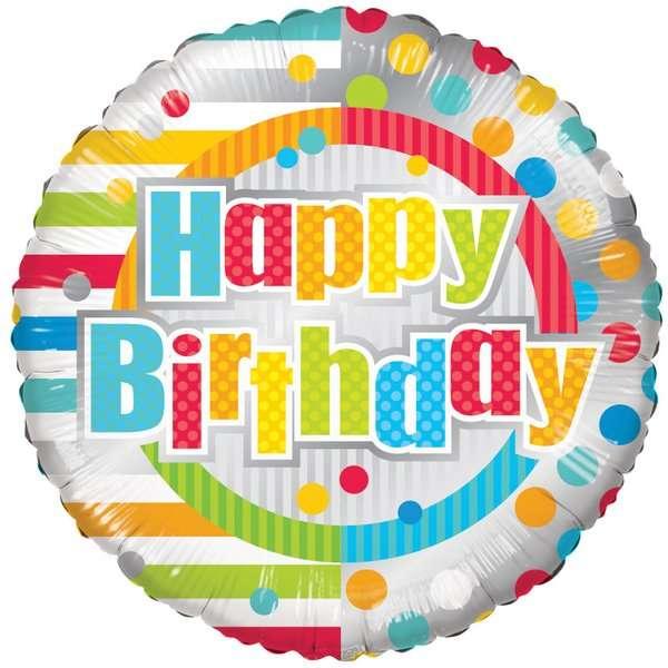 Globo Mylar Happy Birthday Puntos