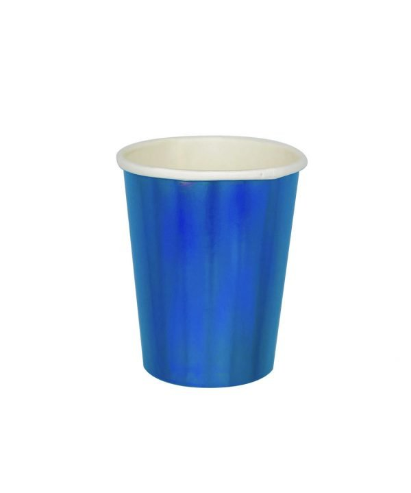 Vaso de Carton Iridiscente Azul